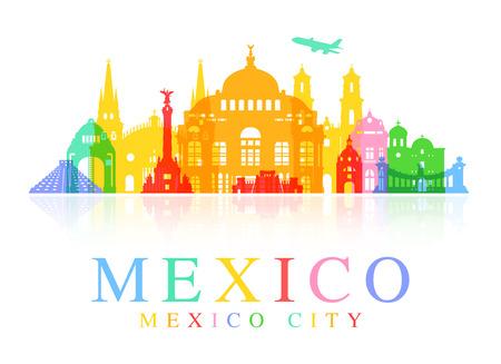 Mexiko-Reise Sehenswürdigkeiten Illustration