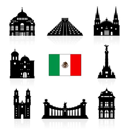 world heritage: Mexico Travel Landmarks icon set Illustration