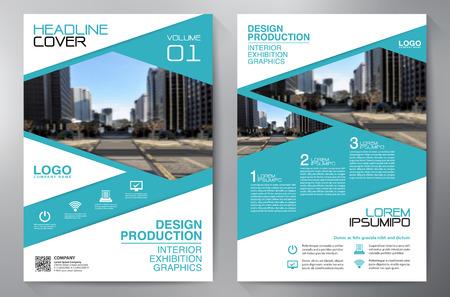 ビジネス パンフレット。デザイン。リーフレット a4 テンプレート。カバー本、Magzine。年次報告書のベクトル図