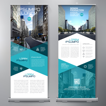 Affaires Roll Up. Standee design. Modèle de bannière. Présentation et Brochure Flyer. Vector illustration Vecteurs