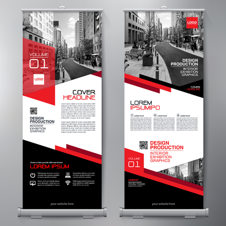 Business-Roll Up. Standee Entwurf. Banner-Vorlage. Präsentation und Broschüre Flyer. Vektor-Illustration Vektorgrafik