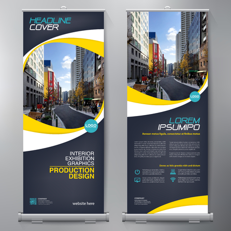 Business Roll Up. Standee Design. Banner Template. Presentation and Brochure Flyer. Vector illustration Çizim
