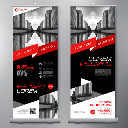 Business Roll Up. Standee Design. Banner Template. Presentation and Brochure Flyer. Vector illustration Reklamní fotografie - 73533434