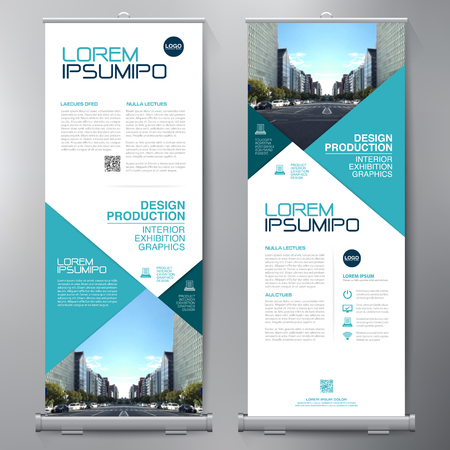 Business Roll Up. Standee Design. Banner Template. Presentation and Brochure Flyer. Vector illustration Ilustracja