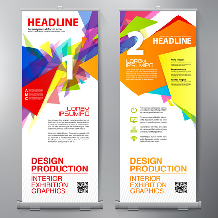 Business Roll Up. Standee Design. Banner Template. Presentation and Brochure Flyer. Vector illustration 版權商用圖片 - 75996769