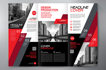 leaflets: Business Brochure. Flyer Design. Leaflets 3 fold Template. Cover Book and Magazine. Annual Report Vector illustration
