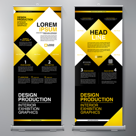 page layout: Business Roll Up. Standee Design. Banner Template. Presentation and Brochure Flyer. Vector illustration Illustration