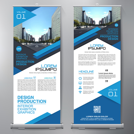 Business Roll Up. Standee Design. Banner Template. Presentation and Brochure Flyer. Vector illustration  イラスト・ベクター素材