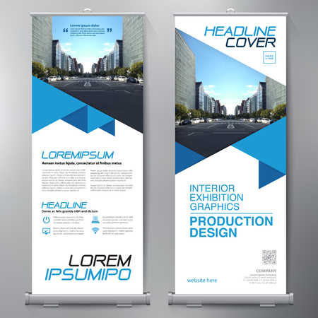 Business Roll Up. Standee Design. Banner Sjabloon. Presentatie en Brochure Flyer. Vector illustratie.