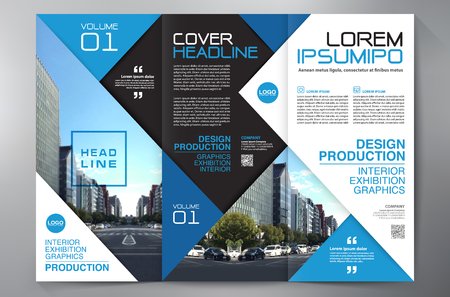 catalog: Business Brochure. Flyer Design. Leaflets 3 fold Template. Cover Book and Magazine. Annual Report Vector illustration
