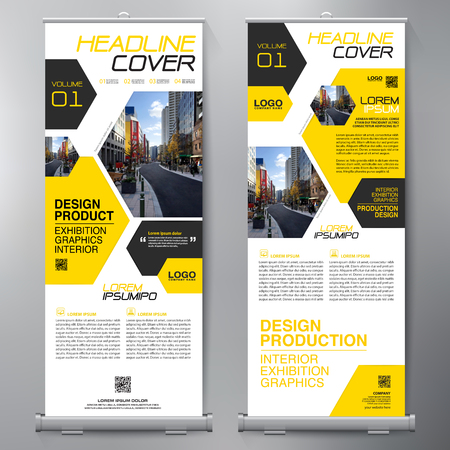 Business Roll Up. Standee Design. Banner Template. Presentation and Brochure Flyer. Vector illustration Vectores