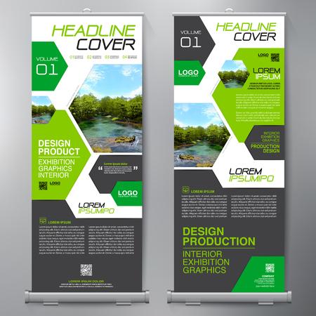Business Roll Up. Standee Design. Banner Template. Presentation and Brochure Flyer. Vector illustration Illustration