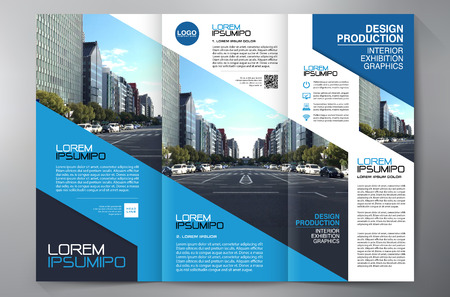 Brochure aziendali. Flyer Design. Modelli 3 fogli illustrativi. Copertina e rivista. Annual Report Illustrazione vettoriale