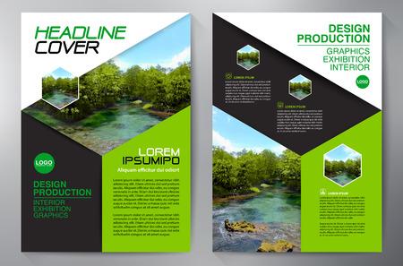 ビジネス パンフレット。チラシのデザイン。リーフレット a4 テンプレート。本や雑誌をカバーします。年次報告書のベクトル図  イラスト・ベクター素材