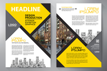 Brochure aziendale. Design Flyer. Volantini a4 modello. Copertina e rivista. Illustrazione vettoriale relazione annuale