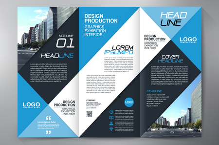 blue background: Business Brochure. Flyer Design. Leaflets 3 fold Template. Cover Book and Magazine. Annual Report Vector illustration