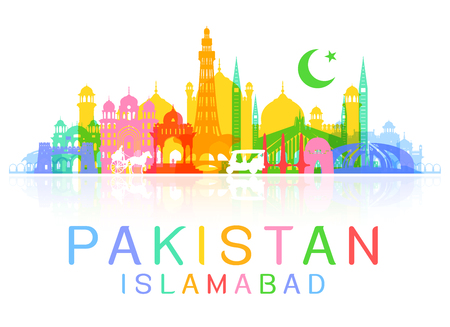 A Pakistan Travel Landmarks. Vector and Illustration Illusztráció