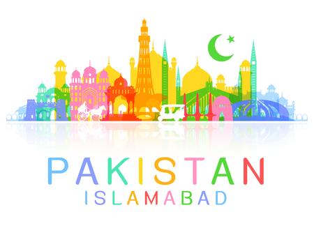Punti di riferimento di un viaggio in Pakistan. Vettoriale e illustrazione Vettoriali
