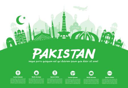 パキスタン旅行のランドマーク。イラストとベクター  イラスト・ベクター素材