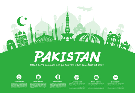 A Pakistan Travel Landmarks. Vector and Illustration Illustration