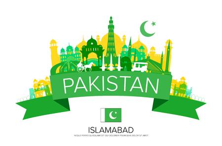 파키스탄 여행 랜드 마크 벡터 및 그림.