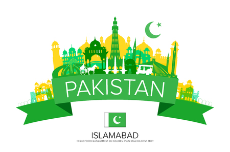 A Pakistan Travel Landmarks Vector and Illustration. Vettoriali