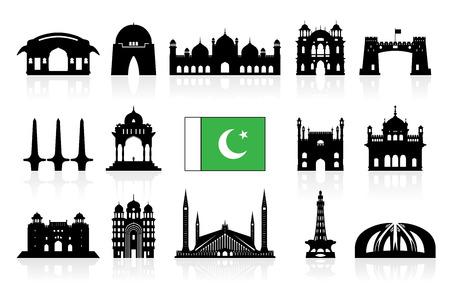 パキスタン旅行ランドマーク アイコンは、ベクトルおよび図を設定します。