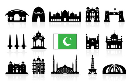 A Pakistan Travel Landmarks icon set Vector and Illustration. Ilustração