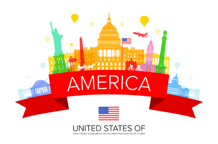 USA Travel Landmarks. Stock Vector - 88024267