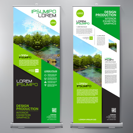 Business Roll Up. Standee Design. Banner Template. Presentation and Brochure Flyer. Vector illustration.