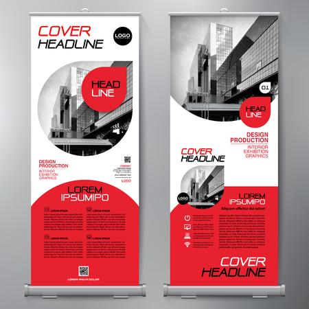 Negocio Roll Up. Diseño Standee. Plantilla de banner. Presentación y Folleto Flyer. Ilustración del vector.