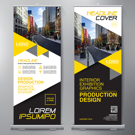 Business Roll Up. Standee Design. Banner Template. Presentation and Brochure Flyer. Vector illustration Vettoriali