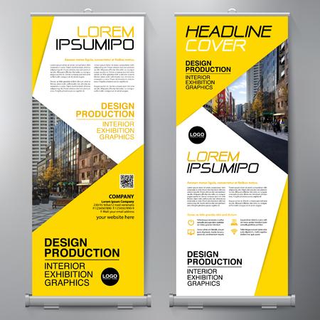 Negocio de Roll Up. Diseño de pie. Plantilla de banner. Folleto de presentación y folleto. Ilustración vectorial