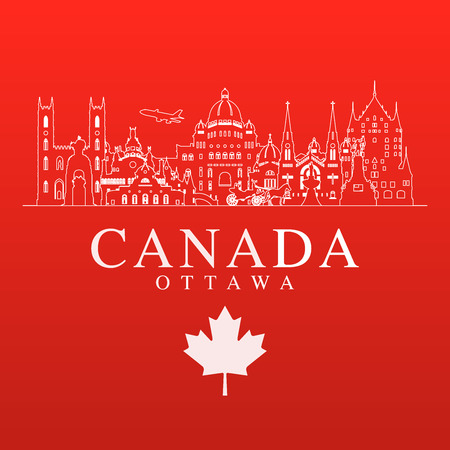 Canada Travel Landmarks. Vector and Illustration