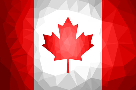 Canada Flag Abstract polygon background. Vector and illustration