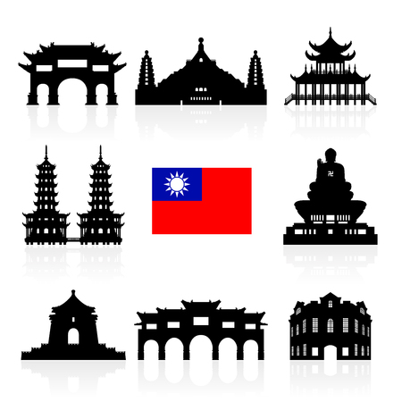 Taiwan Icon Travel Landmarks. Vector and Illustration