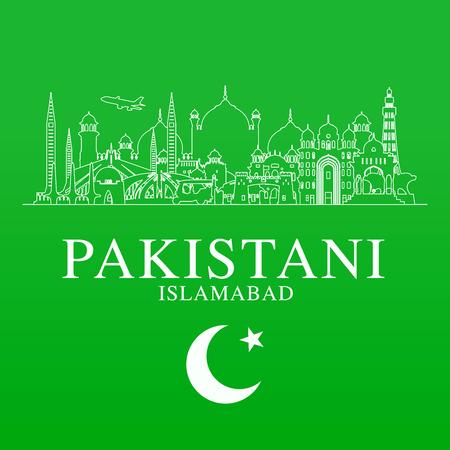 Pakistan travel banner design. Иллюстрация