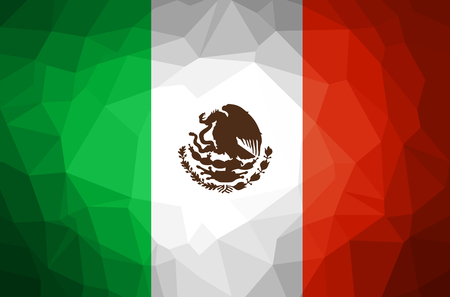 Mexico Flag Abstract polygon background vector and illustration. Vectores