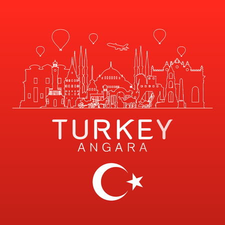 Turkey Travel Landmarks vector and illustration.