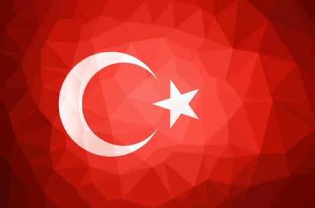 Turkey Flag Abstract polygon background vector and illustration.