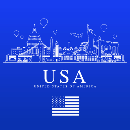 USA Travel Landmarks vector and illustration. Illustration