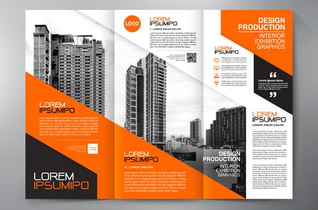 Brochure aziendale. Design volantino. Volantini 3 volte modello. Copertina e rivista. Illustrazione vettoriale di relazione annuale Vettoriali