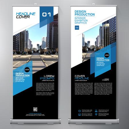 Affari Roll Up. Standee Design. Modello di banner. Volantino per presentazione e brochure. Illustrazione vettoriale