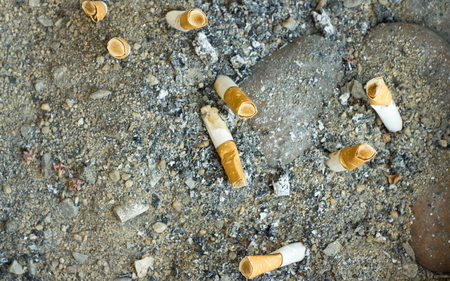 Burnt cigarette butts and ashes from an ash tray