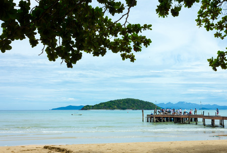 jetty on the Beach and tropical sea,East of Thailand Stock Photo