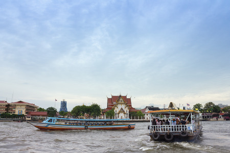 praya: landscape Chow Praya river ,Wat Rakang,Bangkok Thailand