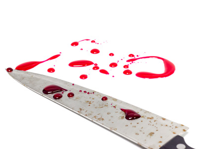 A knife smeared with blood on white background,isolate