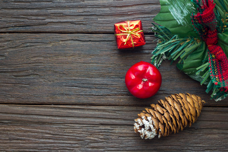 Chrismas decorations on wooden background,copy space