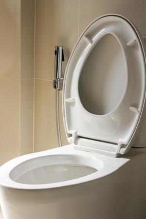 bidet: close up white bidet in toilet