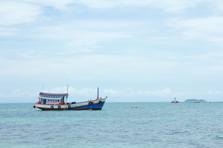 fishing boat back to Island at sea  Thailand Stock Photo
